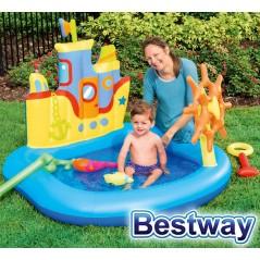 Piscina Infantil - 84 Ltr - 1,40 x 1,30 x H. 1,04 Mtr - Bestway - Barco Marino - 52211 + Inflador