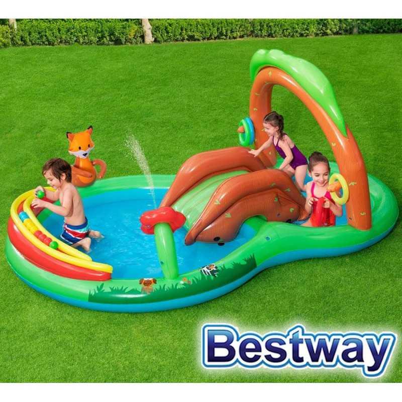 Piscina Infantil - 325 Ltr - 2,95 x 1,99 x H. 1,30 Mtr - Bestway - Bosque Amistoso - 53093 + Inflador
