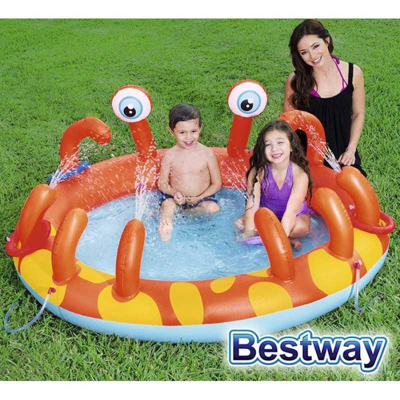 Piscina Infantil Inflable - 129 Lts - 1,65 x 1,50 x 0,63 Mtr - Bestway - Cangrejo - 53058 + Inflador
