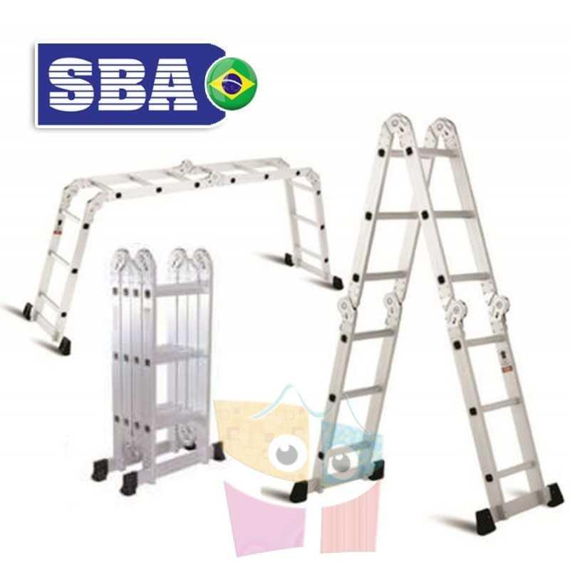Escalera Articulada Plegable - 3,7 Mtrs - 10 posiciones 12 peldaños - SBA - A303