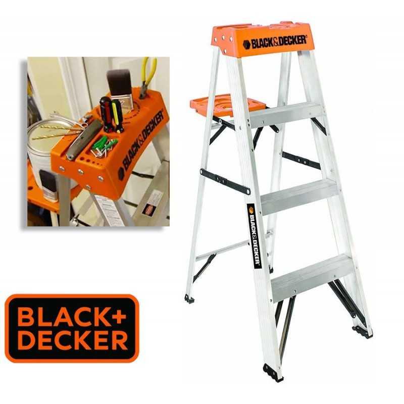 Escalera Tijera de Aluminio - 1,21 Mtrs - Black+Decker - 4 Peldaños