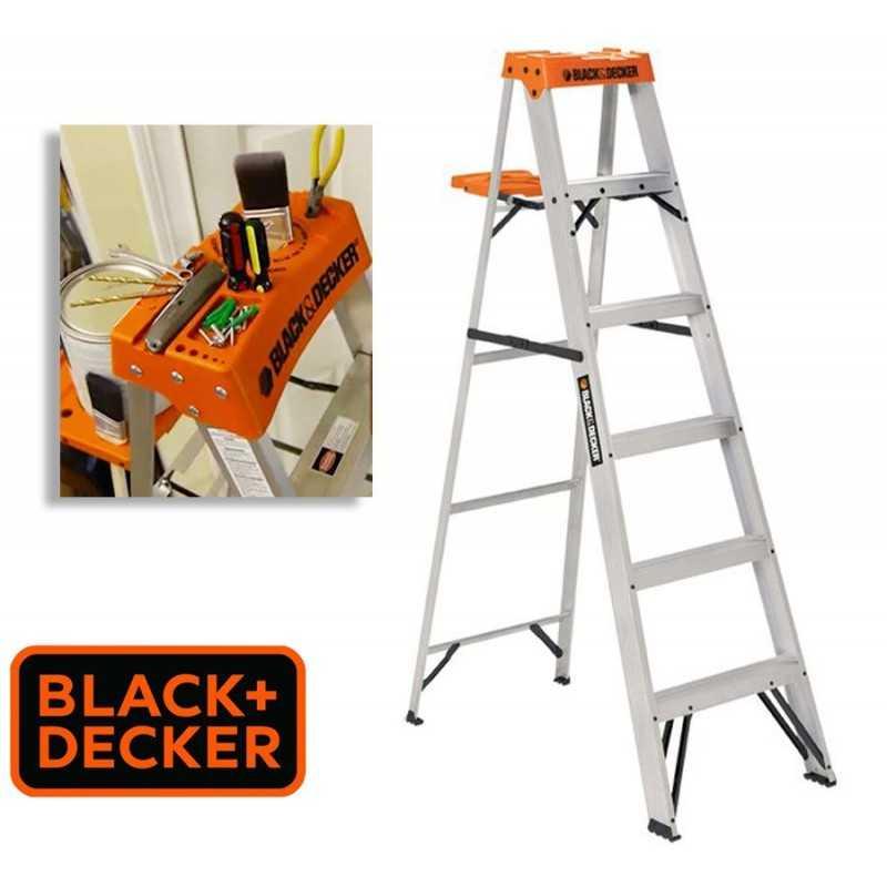 Escalera Tijera de Aluminio - 1,82 Mtrs - Black+Decker - 6 Peldaños