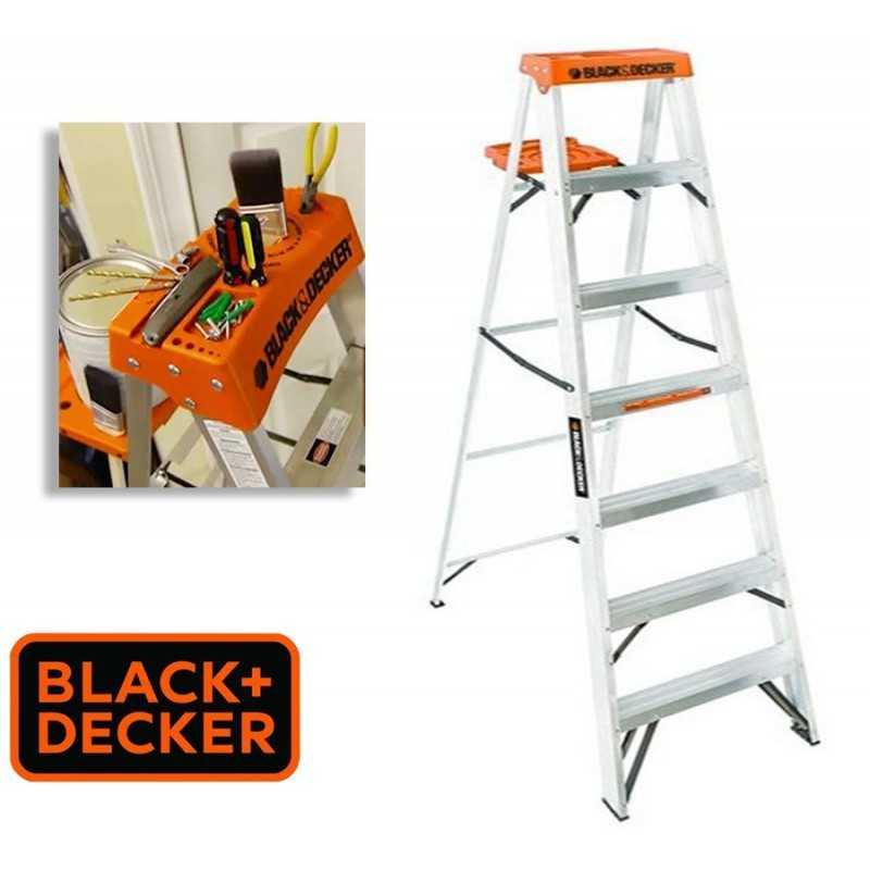Escalera Tijera de Aluminio - 2,10 Mtrs - Black+Decker - 7 Peldaños