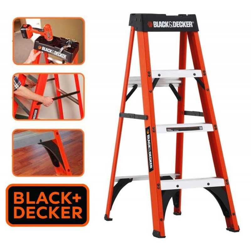 Escalera Tijera de Fibra de Vidrio - 1,22 Mtrs - Black+Decker - 4 Peldaños