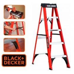 Escalera - 1,52 Mtrs - Tijera de Fibra de Vidrio - Black+Decker - 5 Peldaños - Dielectrica
