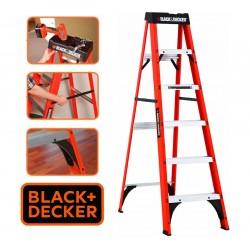 Escalera - 1,82 Mtrs - Tijera de Fibra de Vidrio - Black+Decker - 6 Peldaños - Dielectrica
