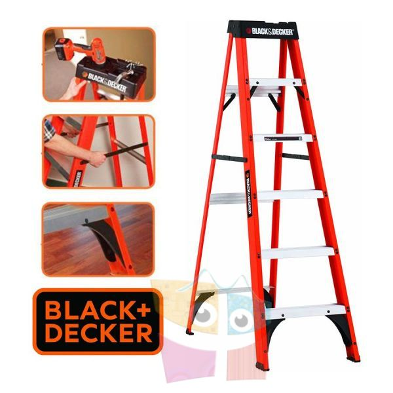 Escalera Tijera de Fibra de Vidrio - 1,82 Mtrs - Black+Decker - 6 Peldaños - Dielectrica