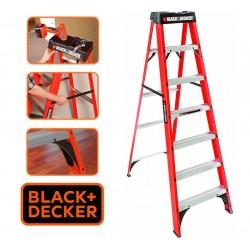 Escalera - 2,13 Mtrs - Tijera de Fibra de Vidrio - Black+Decker - 7 Peldaños - Dielectrica