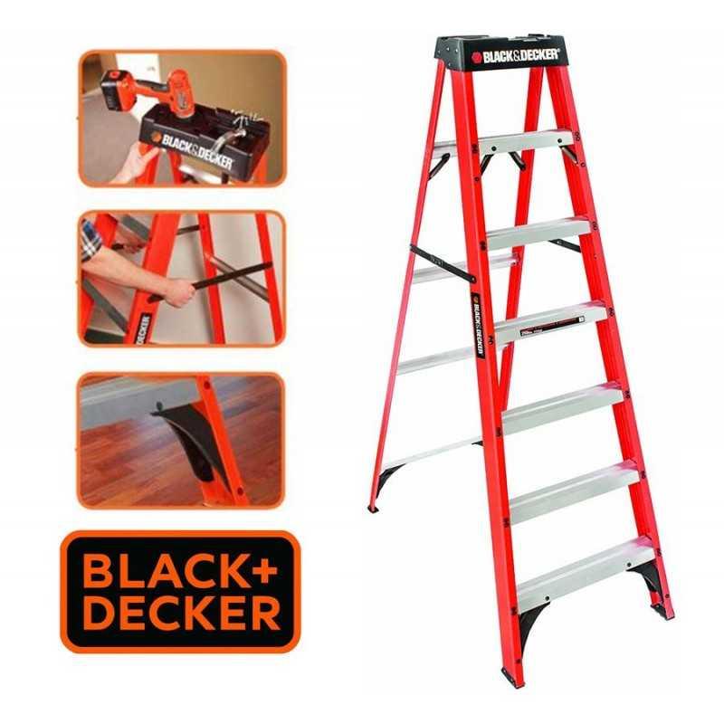 Escalera Tijera de Fibra de Vidrio - 2,13 Mtrs - Black+Decker - 7 Peldaños - Dielectrica