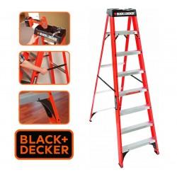 Escalera  - 2,43 Mtrs - Tijera de Fibra de Vidrio - Black+Decker - 8 Peldaños - Dielectrica