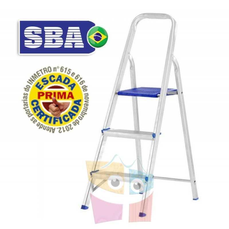 Escalera Tijera de Aluminio - 1,09 Mtrs - 3 peldaños - SBA - Domestica - E1203