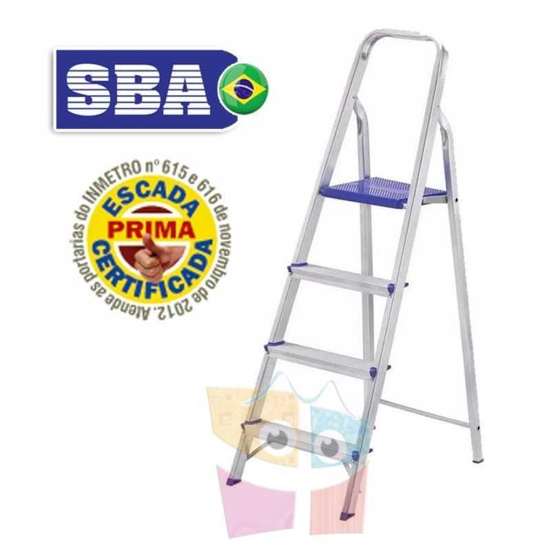Escalera Tijera de Aluminio - 1,029 Mtrs - 3 peldaños - SBA - Domestica - E1204