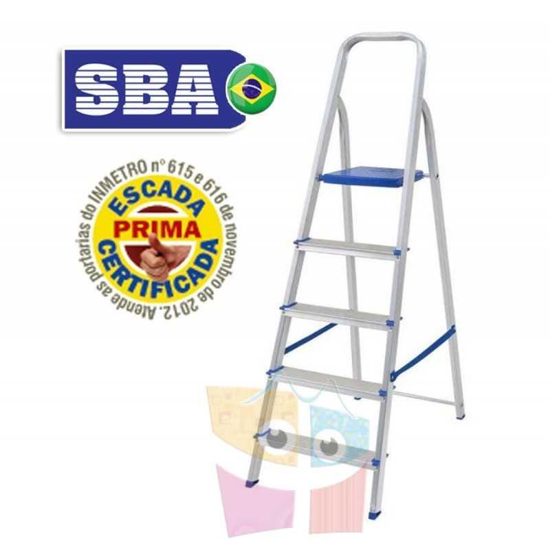 Escalera Tijera de Aluminio - 1,49 Mtrs - 5 peldaños - SBA - Domestica - E1205