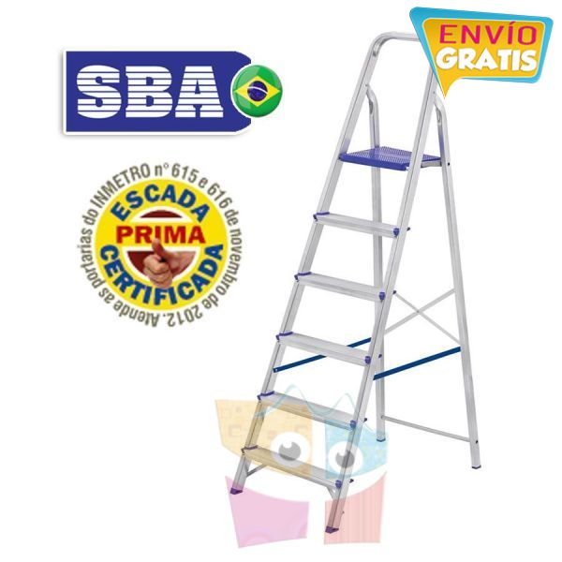 Escalera Tijera de Aluminio - 1,69 Mtrs - 6 peldaños - SBA - Domestica - E1206