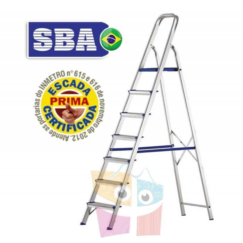 Escalera Tijera de Aluminio - 1,89 Mtrs - 7 peldaños - SBA - Domestica - E1207