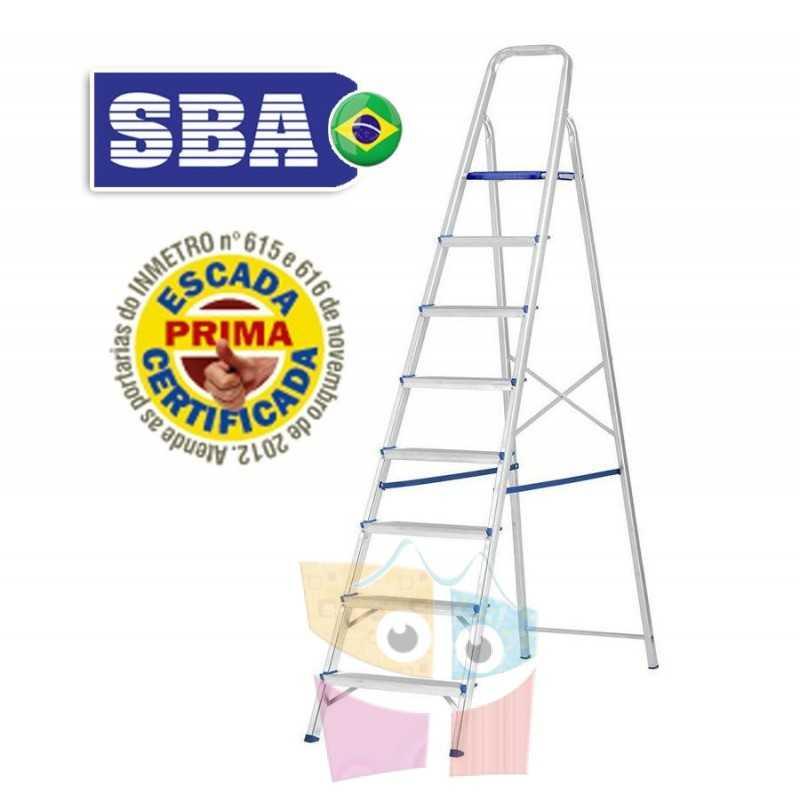 Escalera Tijera de Aluminio - 2,09 Mtrs - 8 peldaños - SBA - Domestica - E1208
