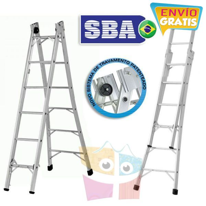 Escalera Articulada Extensible de Aluminio - Max. 3,12 Mtrs - 6+6 peldaños - SBA - P006