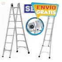Escalera  - Max. 3,72 Mtrs - Articulada Extensible de Aluminio - 7+7 peldaños - SBA - P007
