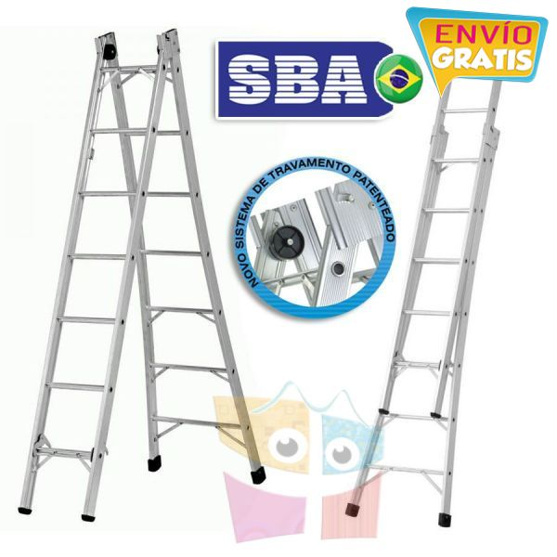 Escalera Articulada Extensible de Aluminio - Max. 3,72 Mtrs - 7+7 peldaños - SBA - P007