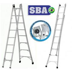 Escalera - Max. 4,32 Mtrs - Articulada Extensible de Aluminio - 8+8 peldaños - SBA - P008
