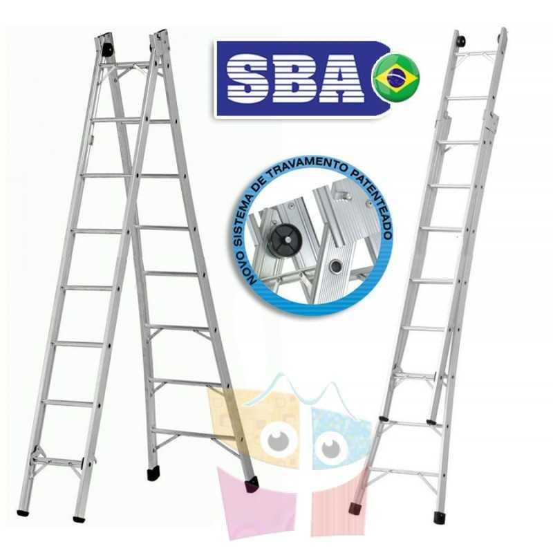 Escalera Articulada Extensible de Aluminio - Max. 4,32 Mtrs - 8+8 peldaños - SBA - P008
