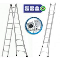 Escalera  - Max. 4,92 Mtrs - Articulada Extensible de Aluminio - 9+9 peldaños - SBA - P009