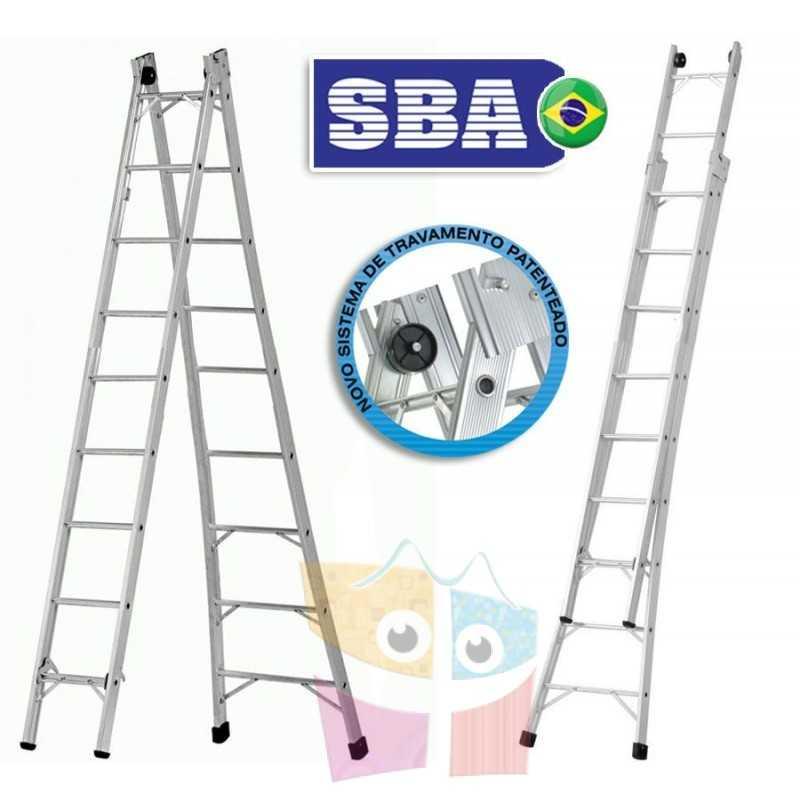 Escalera Articulada Extensible de Aluminio - Max. 4,92 Mtrs - 9+9 peldaños - SBA - P009