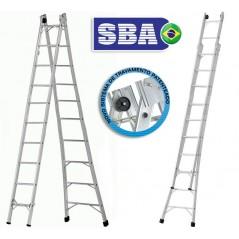 Escalera - Max. 5,52 Mtrs - Articulada Extensible de Aluminio - 10+10 peldaños - SBA - P010