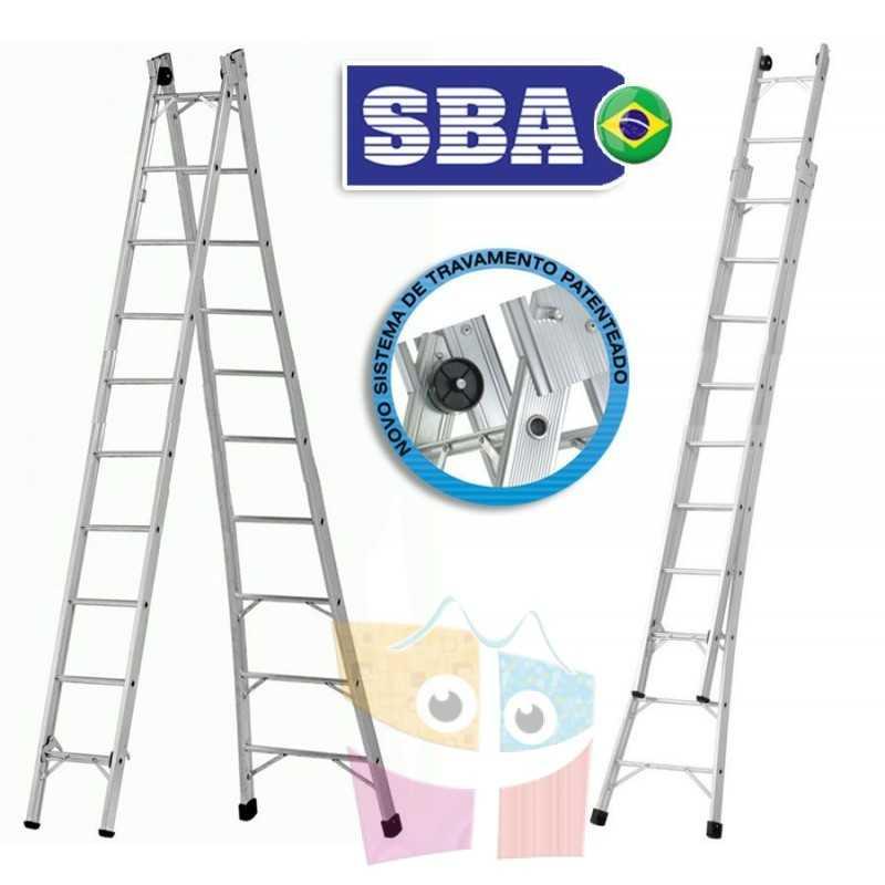 Escalera Articulada Extensible de Aluminio - Max. 5,52 Mtrs - 10+10 peldaños - SBA - P010