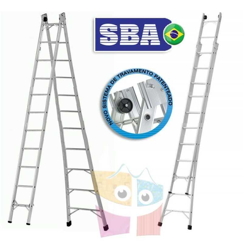 Escalera Articulada Extensible de Aluminio - Max. 5,82 Mtrs - 11+11 peldaños - SBA - P011