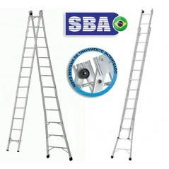 Escalera - Max. 7,03 Mtrs - Articulada Extensible de Aluminio - 13+13 peldaños - SBA - P013