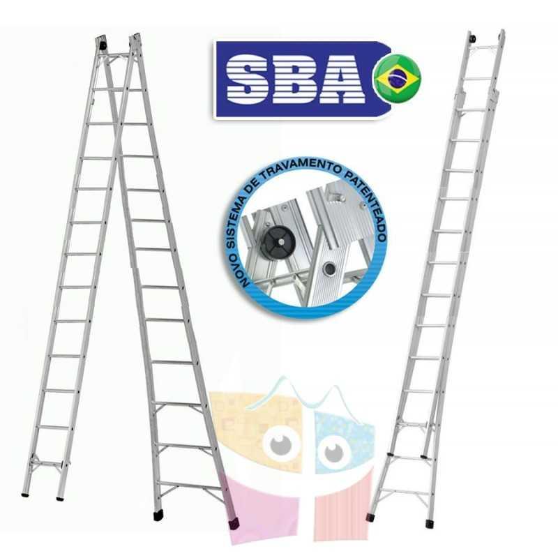 Escalera Articulada Extensible de Aluminio - Max. 7,03 Mtrs - 13+13 peldaños - SBA - P013