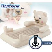 Colchon Inflable Infantil - 1,32 x 0,76 x 0,20 Mtrs - Bestway - DreamChaser Airbed - Teddy Bear + Inflador