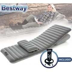 Colchon Inflable Ajustable Multiposicion - 1,90 x 0,70 x 0,105 Mtrs - Bestway - Pavillo FlexChoice + Inflador