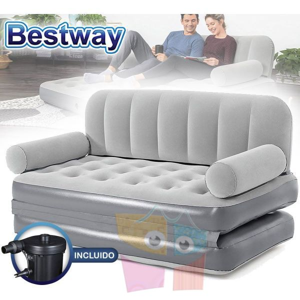 Sofa Cama Inflable - 1,52 x 1,88 x 0,64 Mtrs - Bestway - Multi-Max + Inflador Electrico