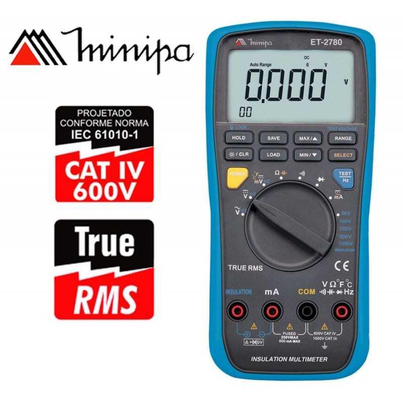 Multimetro / Megometro Digital - Minipa - ET-2780 - True RMS AC / VDC 1000V / VAC 1000V / ADC 600mA / AAC 600mA
