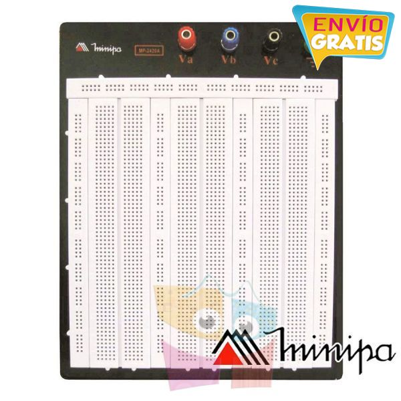 Protoboard  - Minipa - MP-2420A - 2420 agujeros con Base
