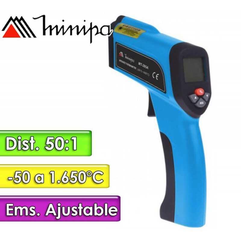 Termómetro Infrarrojo - Minipa - MT-395A - Escala -50 a +1.650°C / 50:1 / Emisividad Ajustable