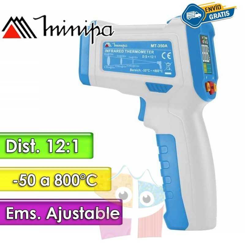 Termómetro Infrarrojo Industrial - Minipa - MT-350A - Escala -50 a +800°C / 12:1 / Emisividad Ajustable