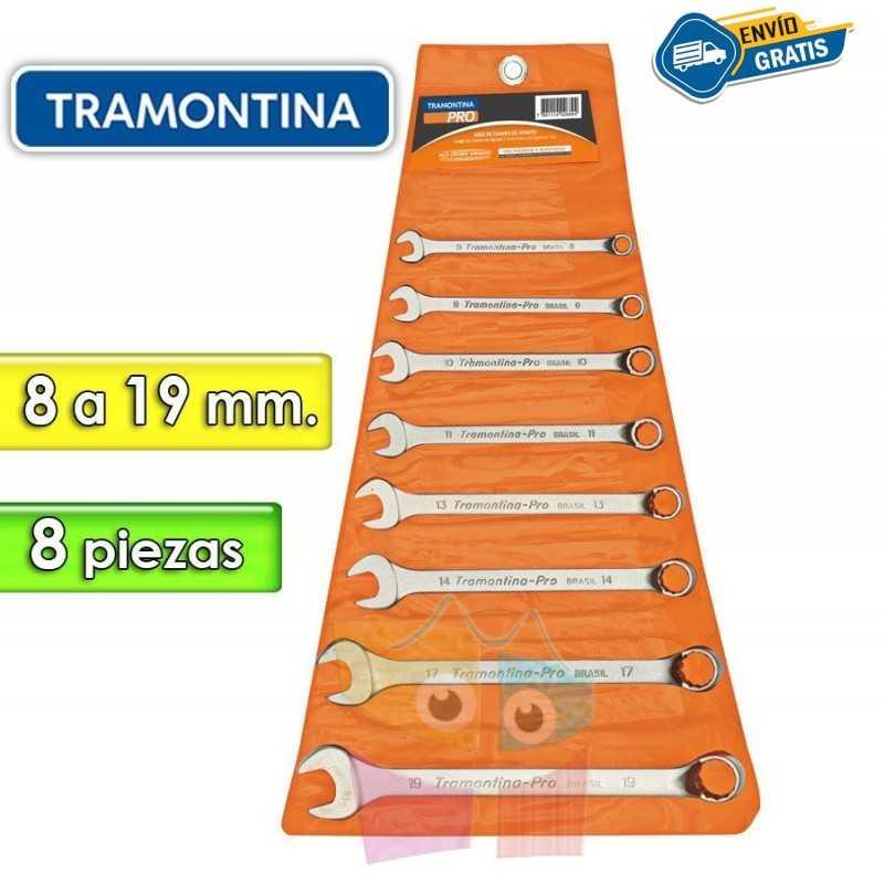 Juego de Llaves Combinadas - 8 Piezas - Tramontina PRO - 8 a 19 mm - Cuello largo