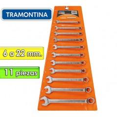 Juego de Llaves Combinadas - 11 Piezas - Tramontina PRO - 6 a 22 mm - Cuello largo