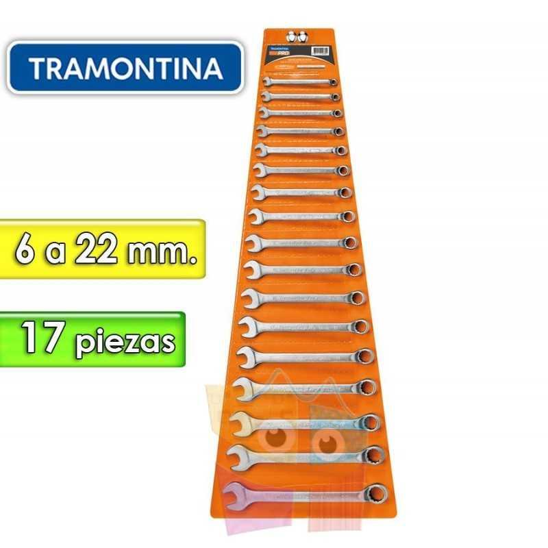 Juego de Llaves Combinadas - 17 Piezas - Tramontina PRO - 6 a 22 mm - Cuello largo