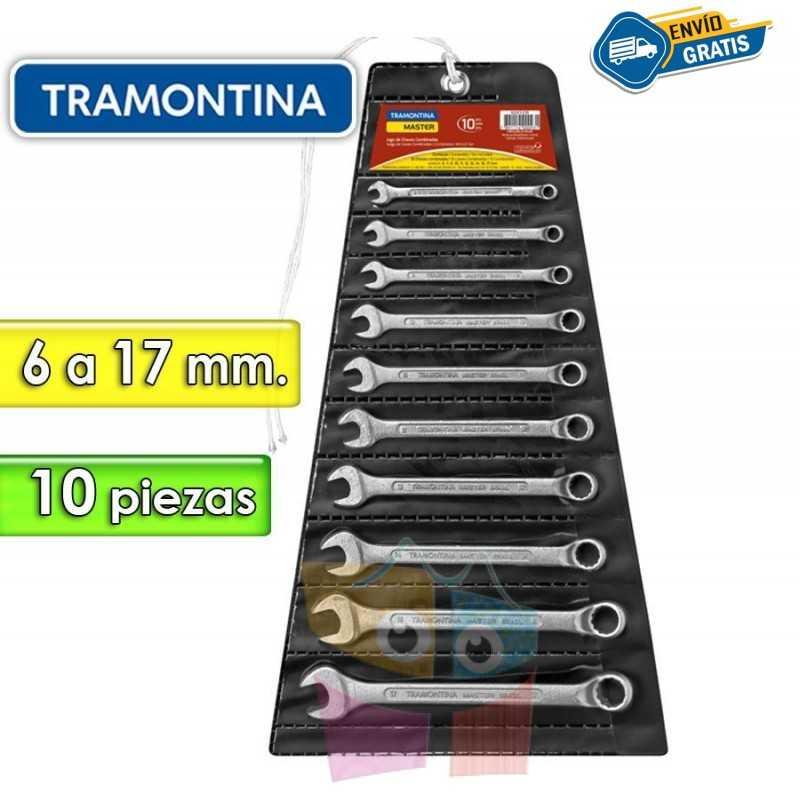 Juego de Llaves Combinadas - 10 Piezas - Tramontina Master - 6 a 17 mm - Cuello largo
