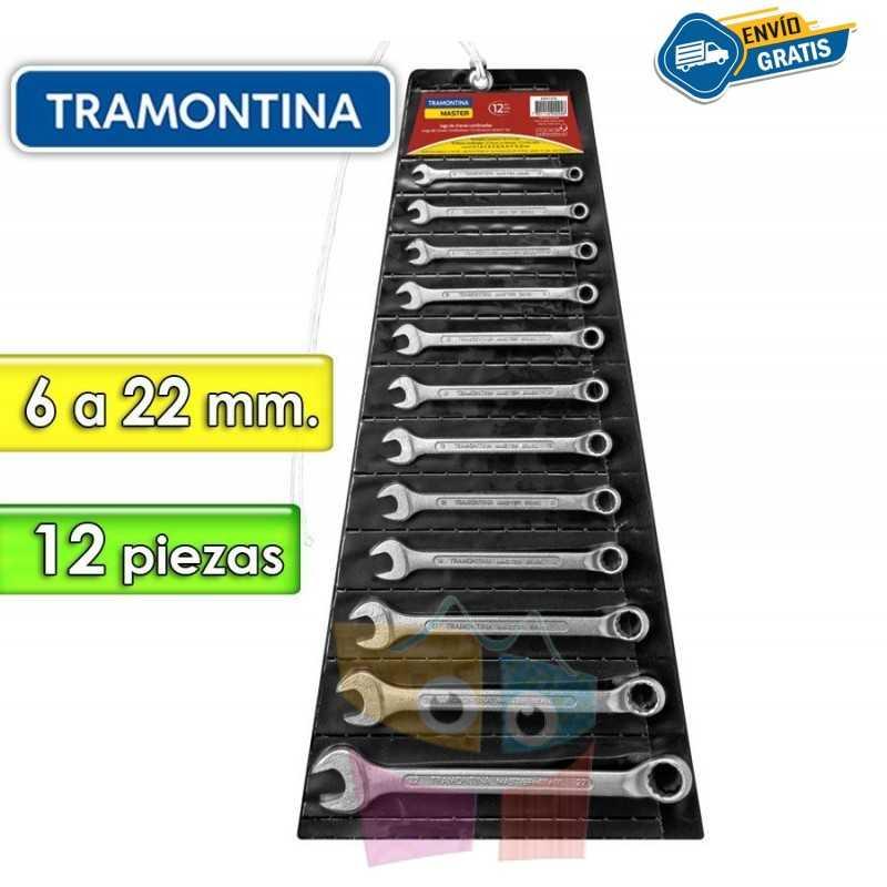 Juego de Llaves Combinadas - 12 Piezas - Tramontina Master - 6 a 22 mm - Cuello largo