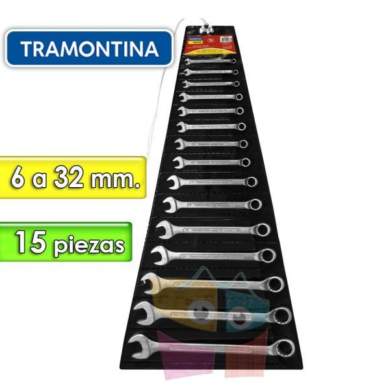 Juego de Llaves Combinadas - 15 Piezas - Tramontina Master - 6 a 32 mm - Cuello largo
