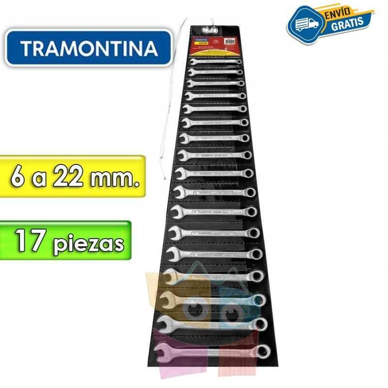 Juego de Llaves Combinadas - 17 Piezas - Tramontina Master - 6 a 22 mm - Cuello largo