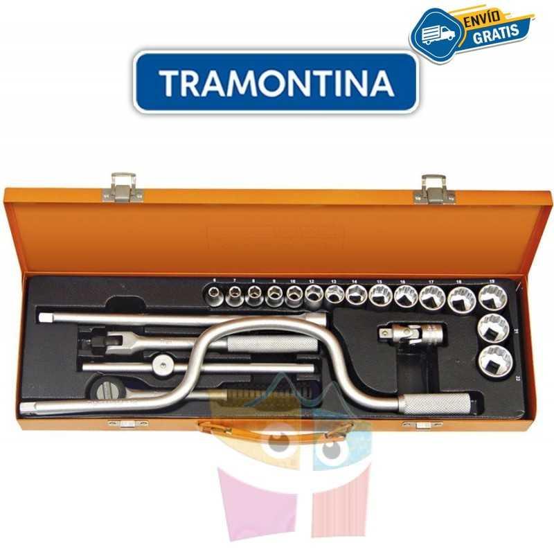 Kit de Llaves Tubo y Dados Hexagonales y Estriados - 21 piezas - Tramontina PRO - 6 a 22 mm