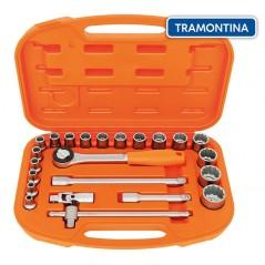 Kit de Llaves Tubo y Dados Estriados - 23 piezas - Tramontina PRO - 8 a 32 mm