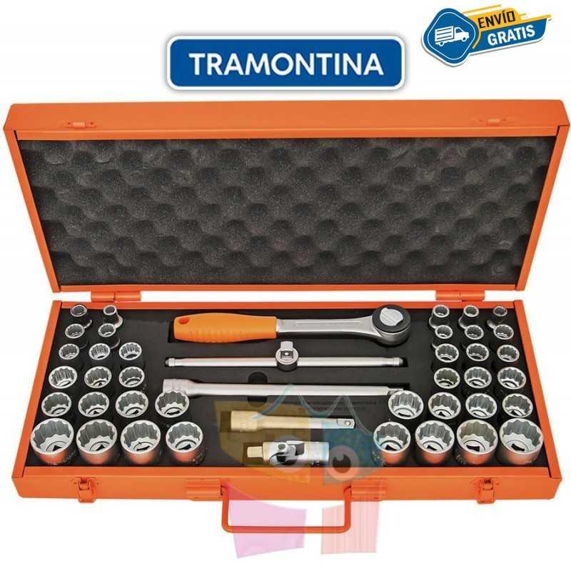 """Kit de Llaves Tubo y Dados Estriados Milímetros y Pulgadas - 43 piezas - Tramontina PRO - 10 a 32 mm y 3/8"""" a 29/32"""""""