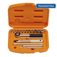 Kit de Llaves Tubo y Dados Hexagonales - 17 piezas - Tramontina PRO - 4 a 13 mm